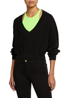 T by Alexander Wang Bi-Layer Cropped Sweater Top