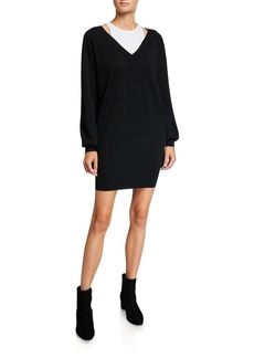 T by Alexander Wang Bi-Layer Long-Sleeve Sweater Dress