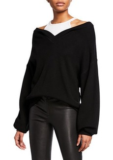 T by Alexander Wang Bi-Layer V-Neck Sweater with Tank