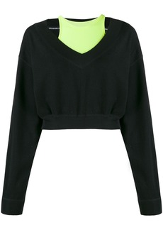 T by Alexander Wang bi-layer V-neck sweatshirt