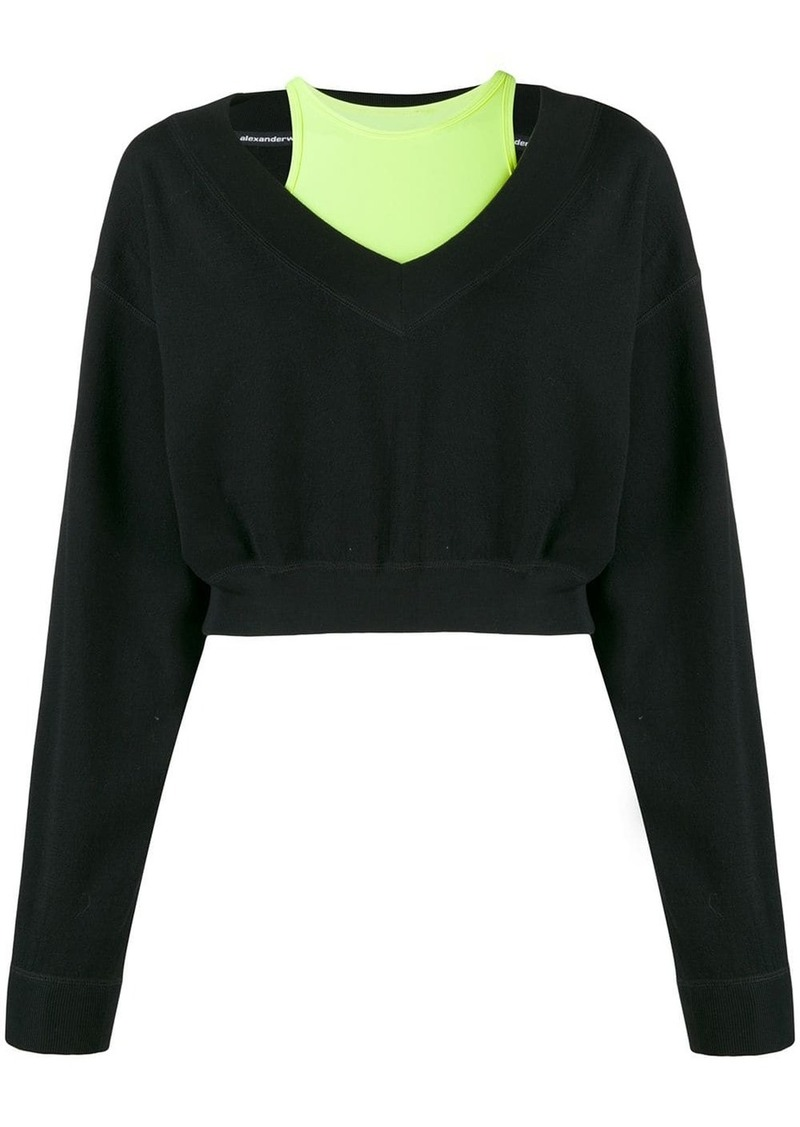 T by Alexander Wang bi-layer V-neck sweatshirt