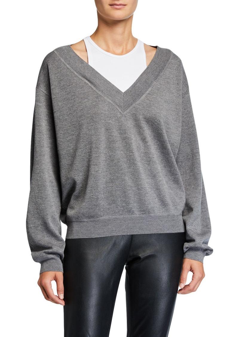 T by Alexander Wang Bi-Layer V-Neck Wool Sweater