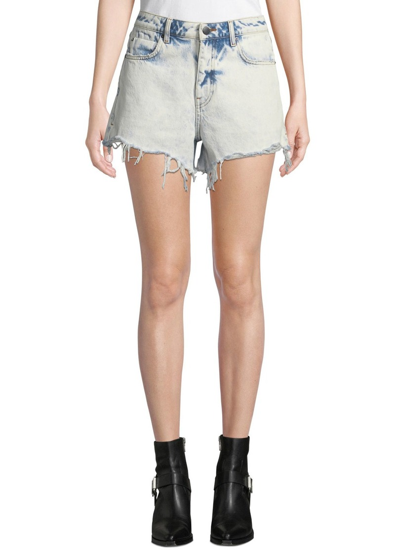 T by Alexander Wang Bite High-Rise Cutoff Bleached Denim Shorts