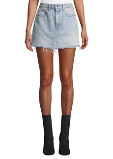 T by Alexander Wang Bite High-Rise Frayed Denim Mini Skirt