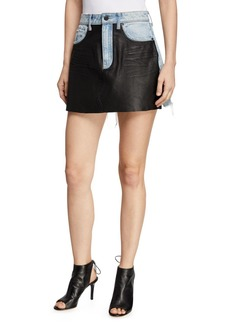 T by Alexander Wang Bite Leather/Denim Frayed Mini Skirt