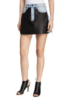 1da5f43e2c2 T by Alexander Wang Bite Leather/Denim Frayed Mini Skirt