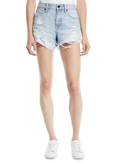 T by Alexander Wang Bite-Mix Bleached Cutoff Denim Shorts w/ Heavy Destruction