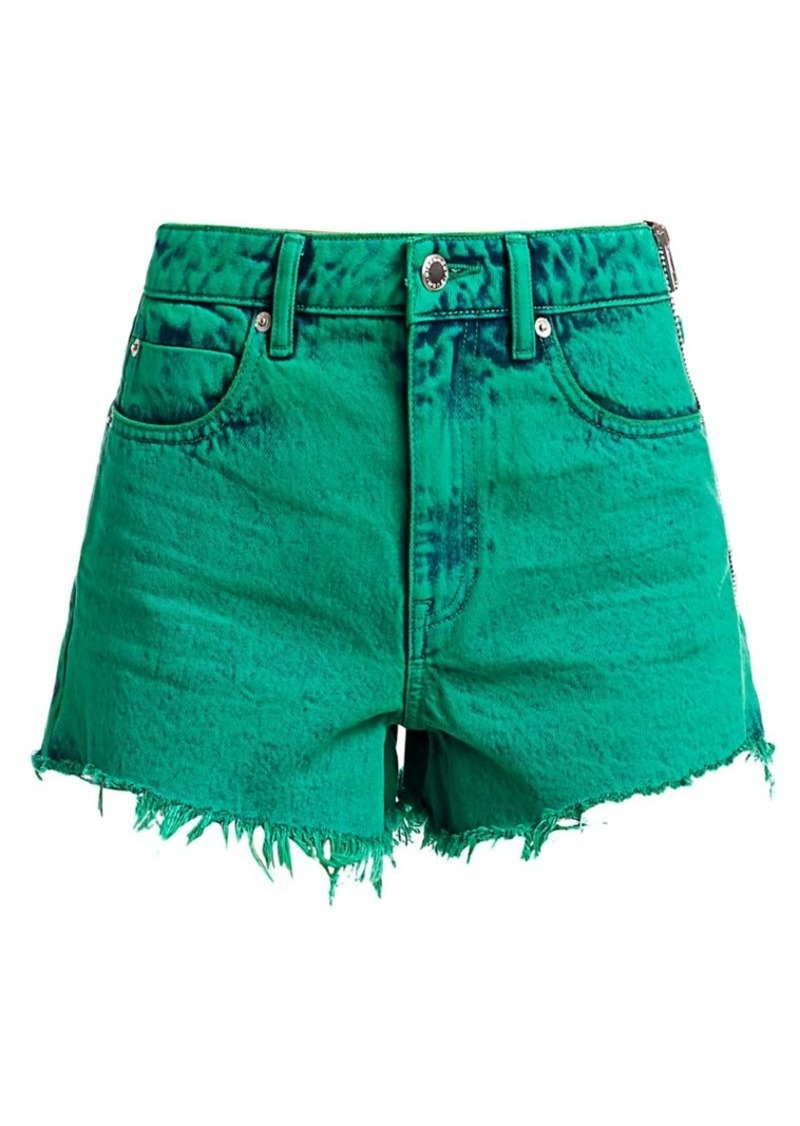 T by Alexander Wang Bite Side-Zip Acid Wash Shorts