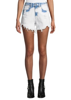 T by Alexander Wang Bite Side-Zip Denim Cutoff Shorts