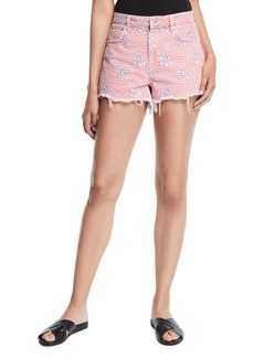 T by Alexander Wang Bite Star-Print Cutoff Denim Shorts