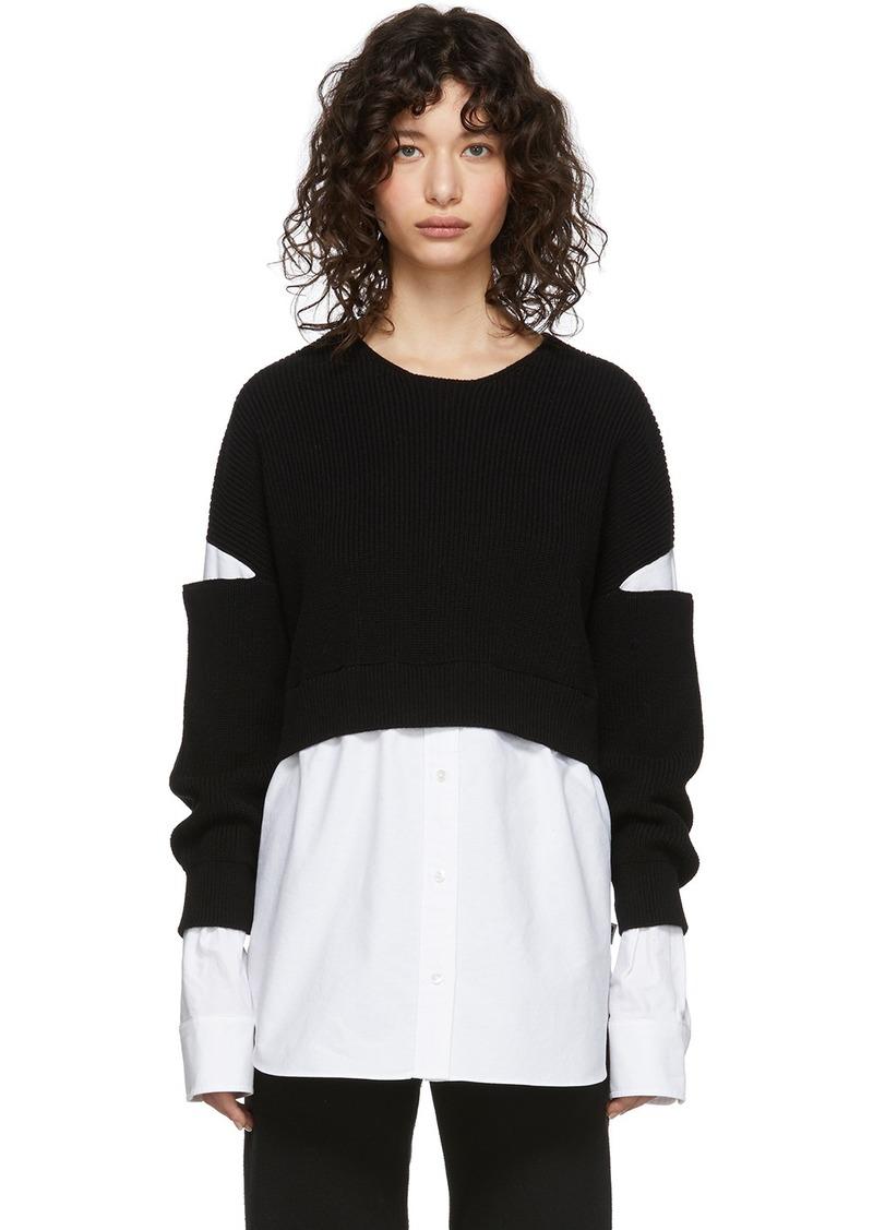 T by Alexander Wang Black & White Bi-Layer Pullover Shirt Sweater