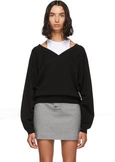 T by Alexander Wang Black & White Cropped Bi-Layer V-Neck Sweater