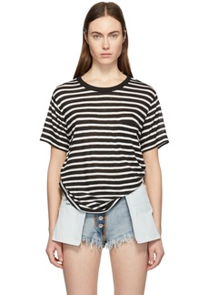 T by Alexander Wang Black & White Slub Jersey Pocket T-Shirt