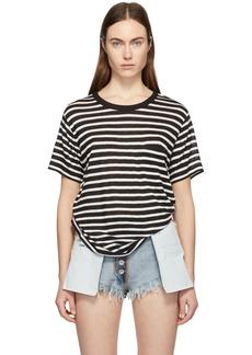 T by Alexander Wang Black & White Slub Jersey Pocket T-Shirt