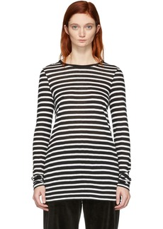 T by Alexander Wang Black & White Striped Slub Long Sleeve T-Shirt