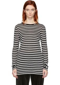 T by Alexander Wang Black & White Striped Slub Long Sleeve T-Shirt
