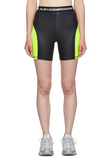 T by Alexander Wang Black & Yellow Logo Elastic Wash & Go Biker Shorts