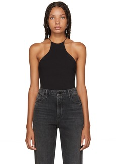 T by Alexander Wang Black Compact Jersey Halter Bodysuit