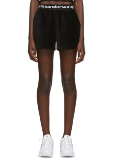 T by Alexander Wang Black Corduroy Logo Shorts
