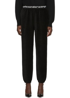 T by Alexander Wang Black Corduroy Stretch Logo Lounge Pants