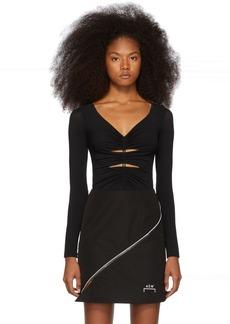 T by Alexander Wang Black Crepe Jersey Bodysuit