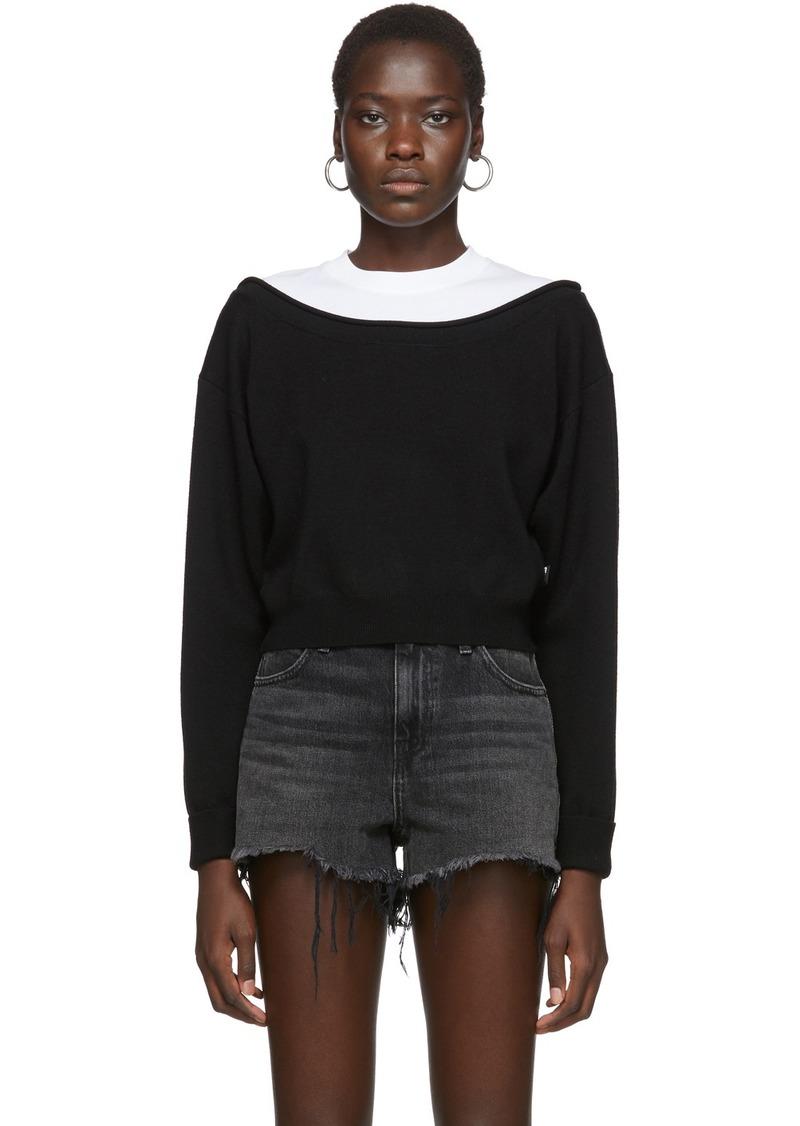 T by Alexander Wang Black Cropped Bi-Layer Sweater