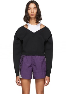 T by Alexander Wang Black Cropped Bi-Layer V-Neck Sweater