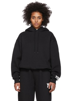 T by Alexander Wang Black Dense Fleece Bubble Hoodie