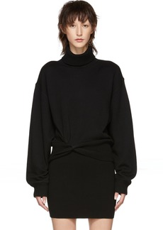 T by Alexander Wang Black Double Layered Twist Turtleneck