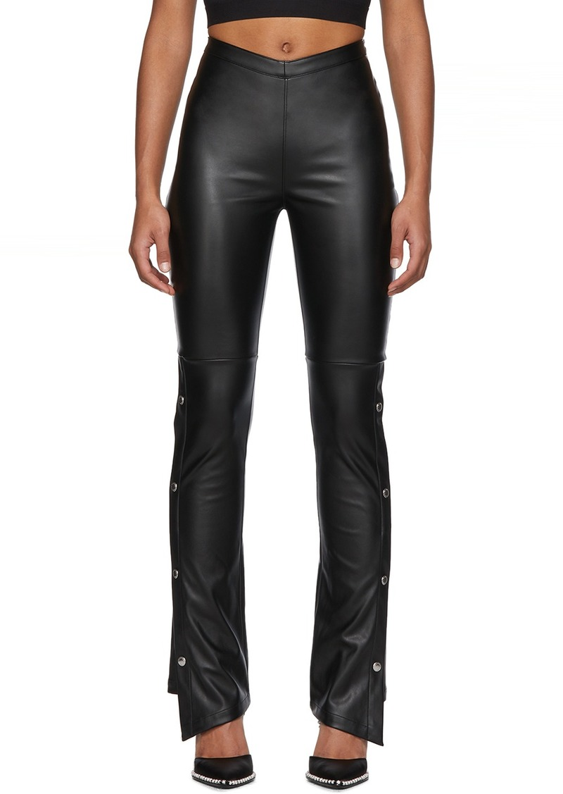 T by Alexander Wang Black Faux-Leather Side Snap Trousers