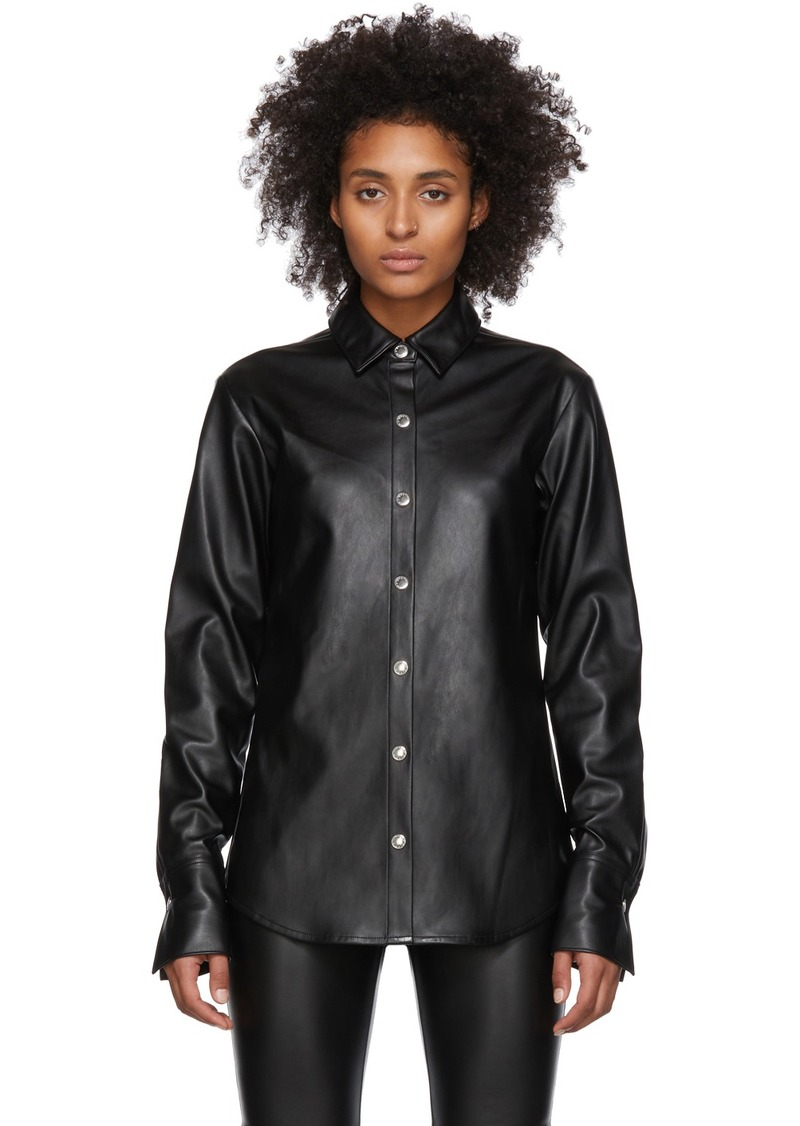T by Alexander Wang Black Faux-Leather Snap Shirt