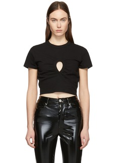 T by Alexander Wang Black High Twist Keyhole Cropped T-Shirt