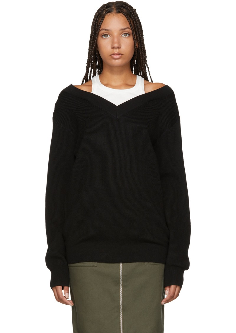 80c9a98cb T by Alexander Wang Black Inner Tank Off-the-Shoulder Sweater