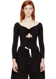 T by Alexander Wang Black Lace-Up Off-the-Shoulder Bodysuit