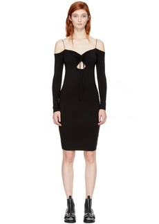 T by Alexander Wang Black Long Sleeve Cut-Out Off-the-Shoulder Dress