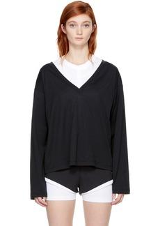 T by Alexander Wang Black Long Sleeve Deep V T-Shirt