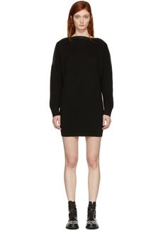 T by Alexander Wang Black Snap Detail Off-the-Shoulder Dress