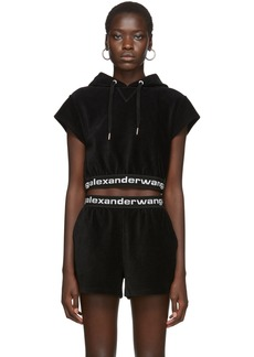 T by Alexander Wang Black Stretch Corduroy Hoodie