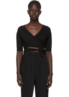 T by Alexander Wang Black Stretch Jersey Double Layer Wrap T-Shirt