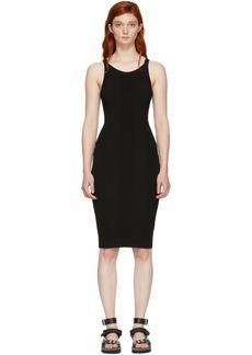 T by Alexander Wang Black Stretch Rib Knit Visible Strap Dress