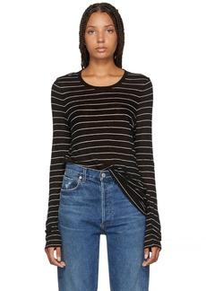 T by Alexander Wang Black Striped Jersey Long Sleeve T-Shirt