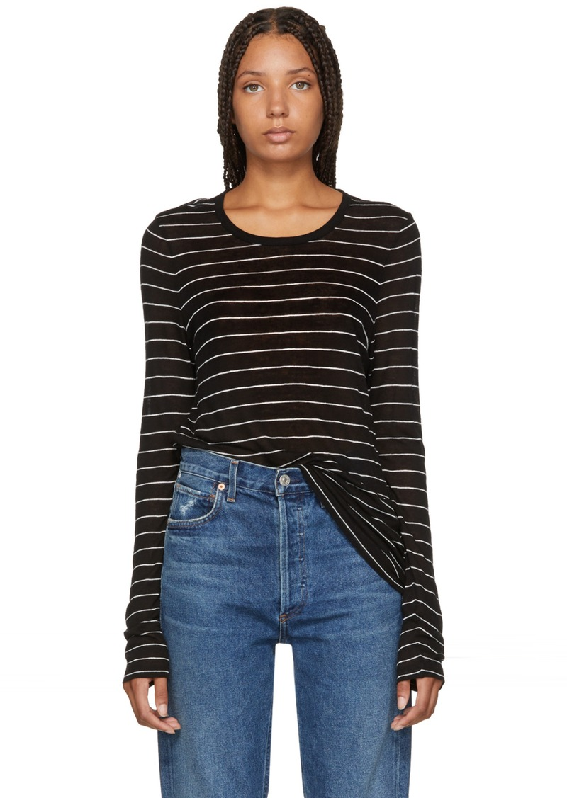 T by Alexander Wang Black Striped Jersey Long Sleeve T-Shirt