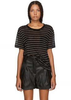 T by Alexander Wang Black Striped Jersey T-Shirt