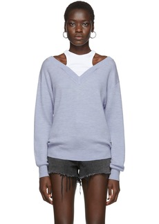 T by Alexander Wang Blue Cropped Bi-Layer V-Neck Sweater