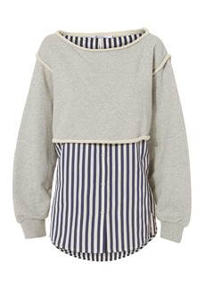 T by Alexander Wang Boatneck Striped Combo Pullover