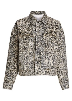 T by Alexander Wang Cheetah-Print Denim Jacket