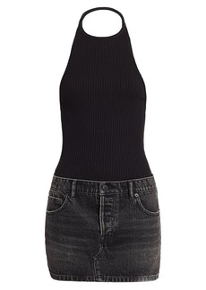 T by Alexander Wang Hybrid Knit & Denim Halter Dress