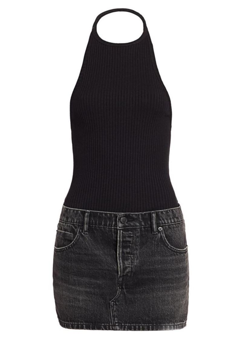 T by Alexander Wang Combo Knit & Denim Halter Dress