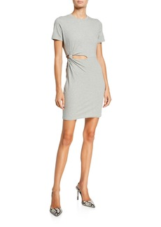 T by Alexander Wang Compact Jersey Twisted Cutout Tee Dress
