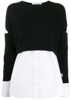 T by Alexander Wang contrast long-sleeve jumper